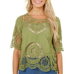 Latitude 10 Womens Crochet Mandala Short Sleeve Top