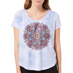 Latitude 10 Womens Embellished Mandala Tie Dye Top