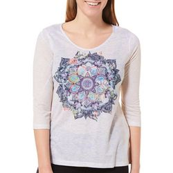 Latitude 10 Womens Embellished Colorful Mandala Top