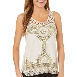 Latitude 10 Womens Crochet Mixed Medallion Sleeveless Top