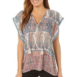 Latitude 10 Womens Embellished Mixed Paisley Tassel Top