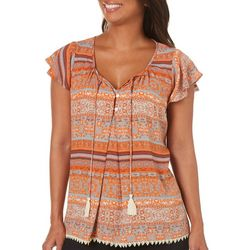 Latitude 10 Womens Floral Striped Tassel Top