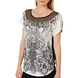 VS Collection Womens Mesh Yoke Foil Printed Ruched Sides Top