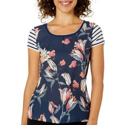 VS Collection Womens Floral Stripe Top