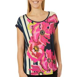 VS Collection Womens Lucia Floral Print Round Neck Top