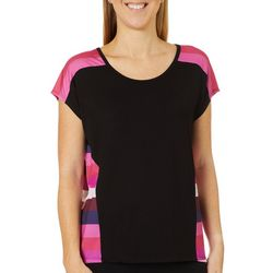 VS Collection Womens Edith Stripe Panel Round Neck Top