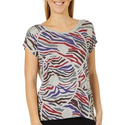 VS Collection Womens Striped Donuts Round Neck Top