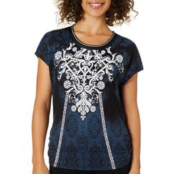 VS Collection Womens Kaisa Embellished Print Ruched Top