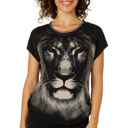 VS Collection Womens Layla Embellished Lion Face Ruched Top