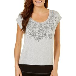 Gypsy Sky Womens Embellished Floral Cap Sleeve Top