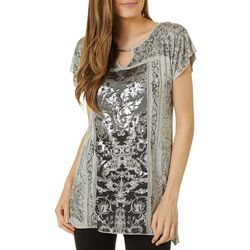VS Collection Womens Elle Floral Damask Keyhole Top