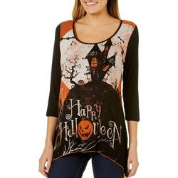 Vanilla Sugar Womens Haunted Halloween Sharkbite Hem Top