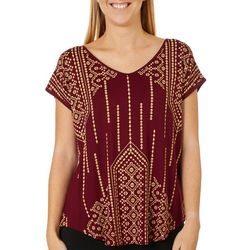 VS Collection Womens Lane Aztec Inspired V-Neck Top