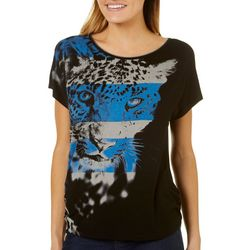 Vanilla Sugar Womens Ruched Embellished Leopard T-Shirt