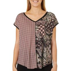 VS Collection Womens Mixed Paisley Print Split Back Top