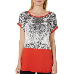 VS Collection Womens Damask Colorblock Short Sleeve Top