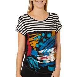 VS Collection Womens Abstract Stripe Print Ruched Top
