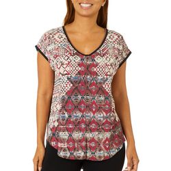 VS Collection Womens Alexis Aztec Inspired V-Neck Top