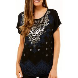 VS Collection Womens Foil Mixed Geometric Print Top