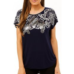 VS Collection Womens Foil Geometric Print Top