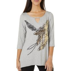 VS Collection Womens Foil Feather Print Top