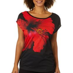 VS Collection Womens Hibiscus Ruched Top