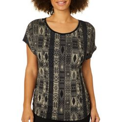 VS Collection Womens Arella Diamond Printed Side Ruched Top
