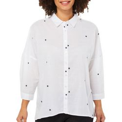 Per Se Womens Embroidered Stars Button Down Top