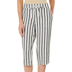 Per Se Womens Stripe Print Linen Drawstring Capris