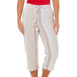 Per Se Womens Mixed Vertical Stripes Linen Capris