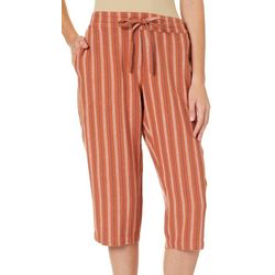 Per Se Womens Stripe Print Linen Pull On Drawstring Capris