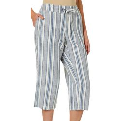 Per Se Womens Mixed Striped Linen Pull On Capris