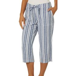 Per Se Womens Stripe Linen Pull On Drawstring Capris