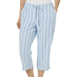 Per Se Womens Stripe Print Linen Pull On Capris