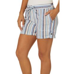 Per Se Womens Vertical Stripe Roll Cuff Linen Shorts
