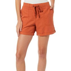 Per Se Womens Solid Roll Cuff Linen Shorts