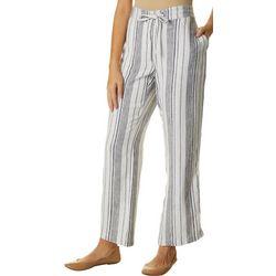 Per Se Womens Mixed Vertical Stripes Linen Pants