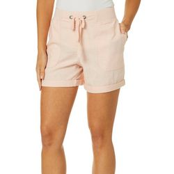 Per Se Womens Solid Roll Cuff Linen Shorts