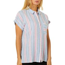 Alexander Jordan Womens Striped Button Down Cap Sleeve