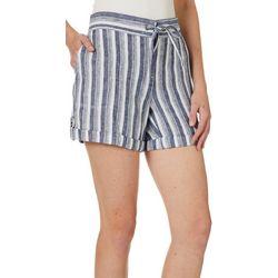 Per Se Womens Striped Roll Cuff Linen Shorts