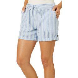 Per Se Womens Vertical Striped Roll Cuff Linen Shorts