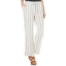Per Se Womens Striped Vertical Linen Pants