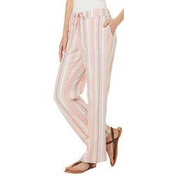 Per Se Womens Vertical Striped Linen Pants