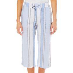 Per Se Womens Colorblock Striped Linen Pull On Capris