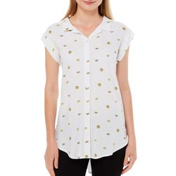 Per Se Womens Lemon Print Button Down Short Sleeve Top