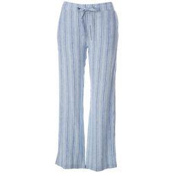 Per Se Womens Striped Linen Pull On Pants