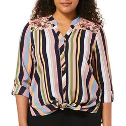 Figueroa and Flower Womens Floral Striped Print Top