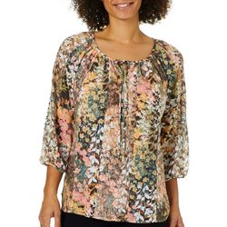 Figueroa and Flower Womens Floral Printed Lace Top