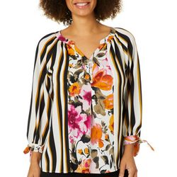 Figueroa and Flower Womens Striped Floral Tie Sleeve