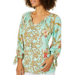 Figueroa and Flower Womens Floral Chain Link Tie Sleeve Top
